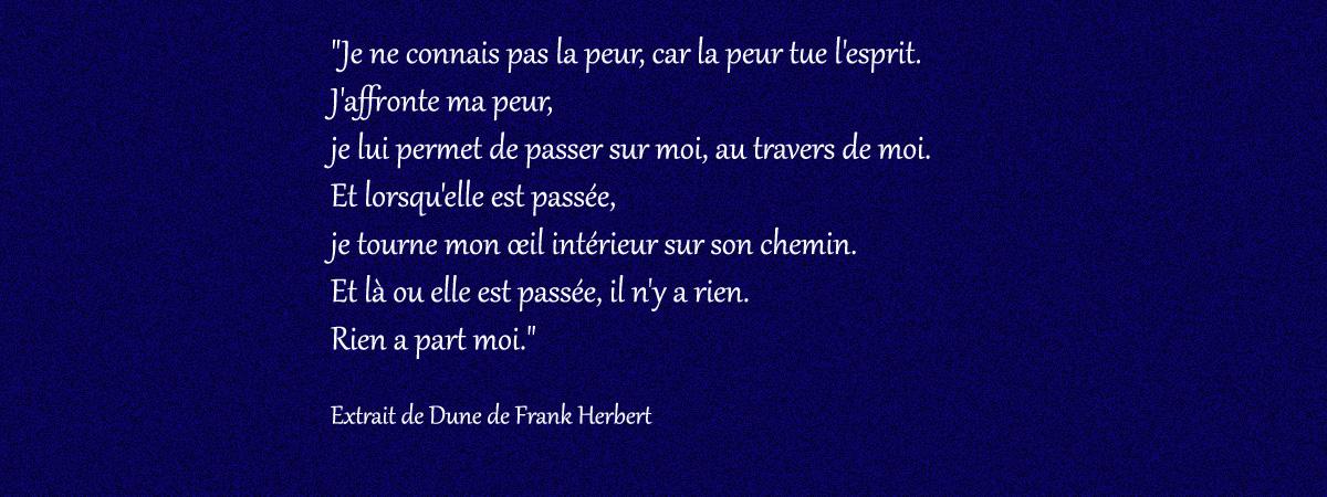"""""""Je ne connais pas la peur, car la peur tue l'esprit. J'affronte ma peur, je lui permet de passer sur moi, au travers de moi. Et lorsqu'elle est passée, je tourne mon œil intérieur sur son chemin. Et là ou elle est passée, il n'y a rien. Rien a part moi."""" Extrait du livre Dune de Franck Herbert"""